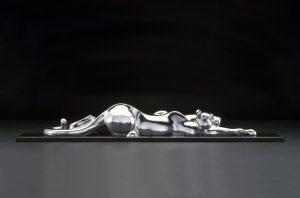 tim cherry snake in the grass mountain lion cat bronze stainless steel wildlife sculpture