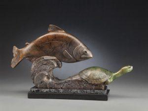 tim cherry stream team fish tortoise bronze wildlife sculpture
