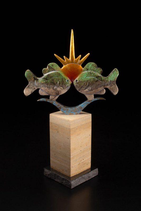 Tim Cherry Sunfish Sunset fish contemporary wildlife bronze sculpture