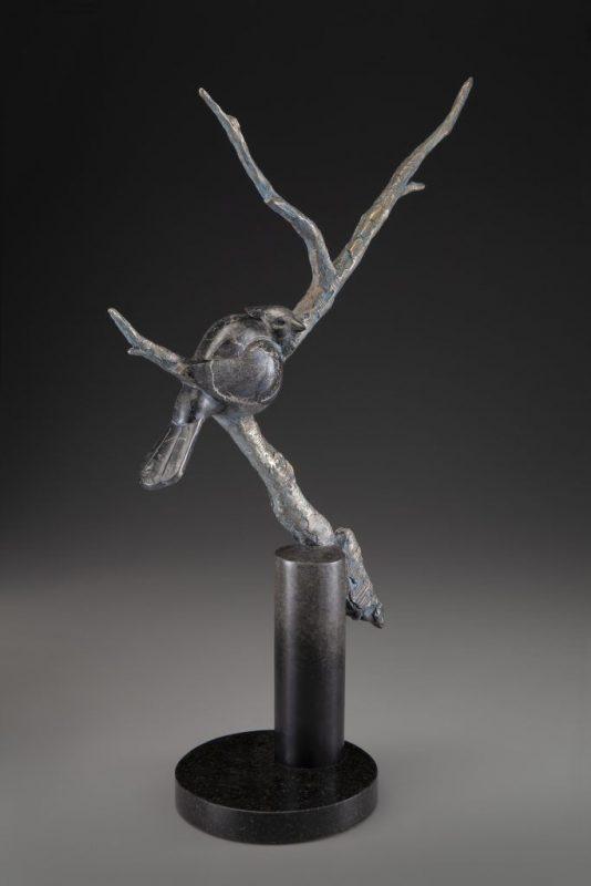 Tim Cherry Tucked In bird tree western wildlife bronze sculpture