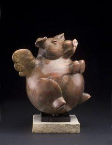 tim cherry when pigs fly pig sculpture wildlife bronze