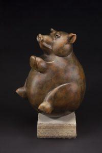 tim cherry whole hog pig bronze wildlife sculpture