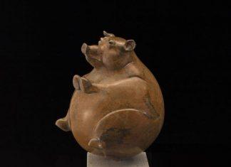 Tim Cherry Whole Hog pig contemporary wildlife bronze sculpture