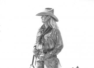 brenda murphy kim and company pencil drawing dogs cowgirl female artist western painting