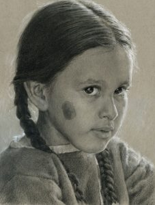 brenda murphy sweet cheyenne native american girl portrait woman drawing pencil pastel western painting