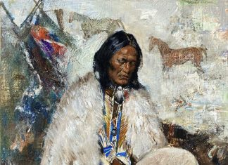 Cyrus Afsary Drum Player Native American man Buffalo Hyde western oil painting