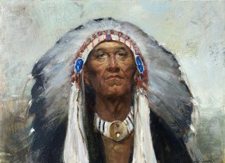 Cyrus Afsary Leader Native American man head dress headdress portrait western oil painting