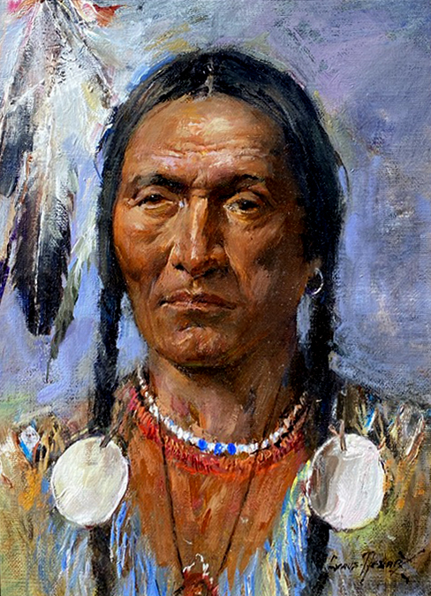 Cyrus Afsary Native American Portrait western oil painting portrait