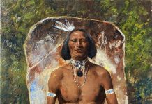 Cyrus Afsary Tradition Native American man warrior soldier western oil painting