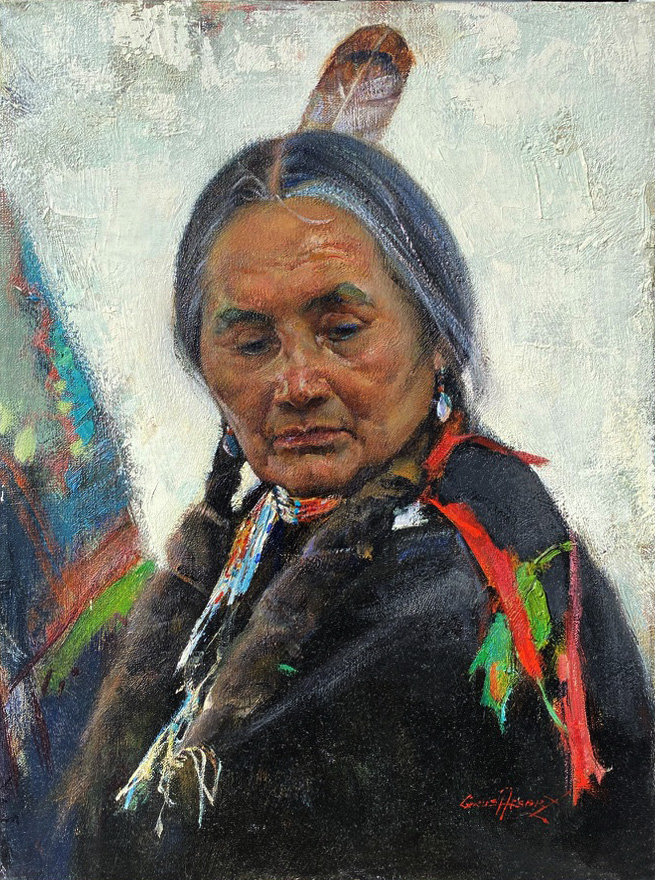 Cyrus Afsary Tribal Pride Native American woman lady girl portrait oil painting
