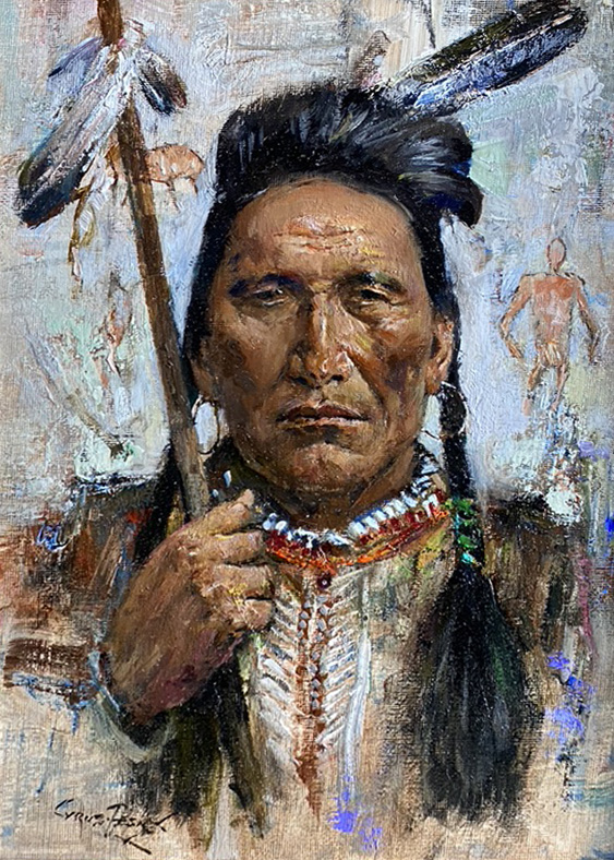 Cyrus Afsary Warrior Native American portrait western oil painting