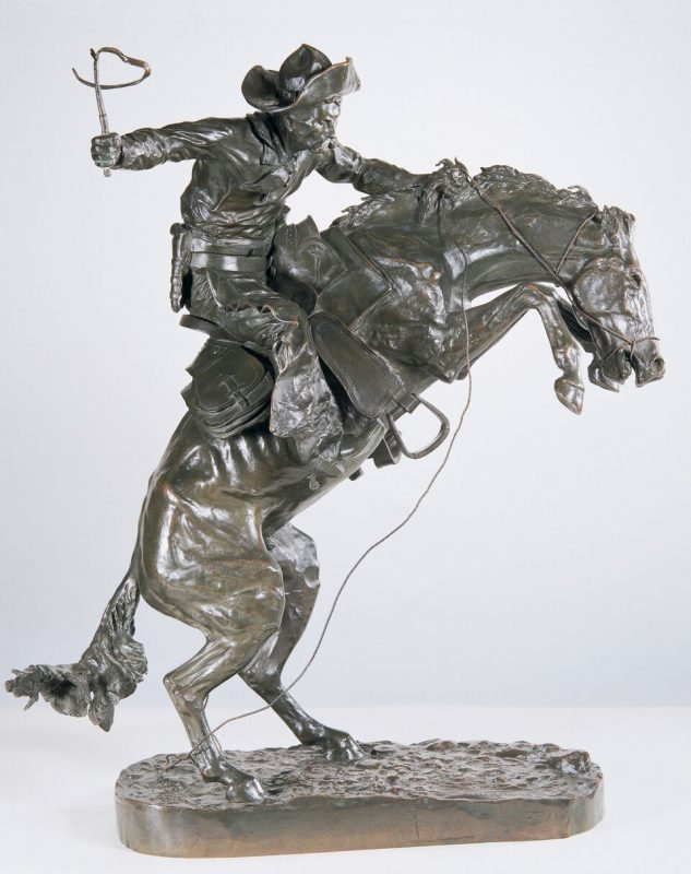 frederic remington western bronze sculpture bronco buster