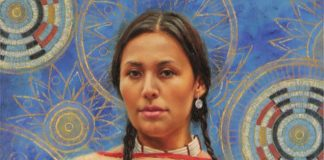 krystii melaine within life's circle Native American woman female portrait figure figurative western oil painting