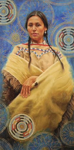 krystii melaine within life's circle native american portrait woman female figure figurative western oil painting