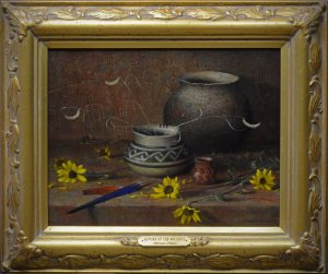 robert peters autumn of the ancients native american still life oil painting relics flower daisy pottery