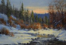 robert peters cimarron creek landscape snow river trees mountain western oil painting