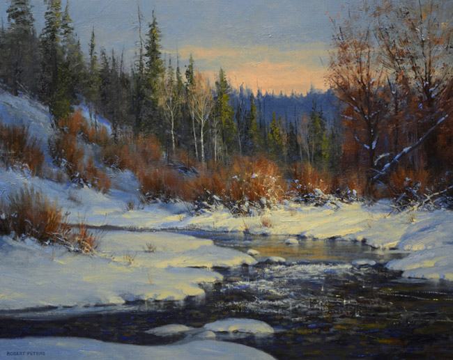 robert peters cimarron creek landscape snow river trees mountain western oil painting