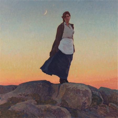 glenn dean in the balance female western landscape prairie woman figure figurative impressionistic western oil painting
