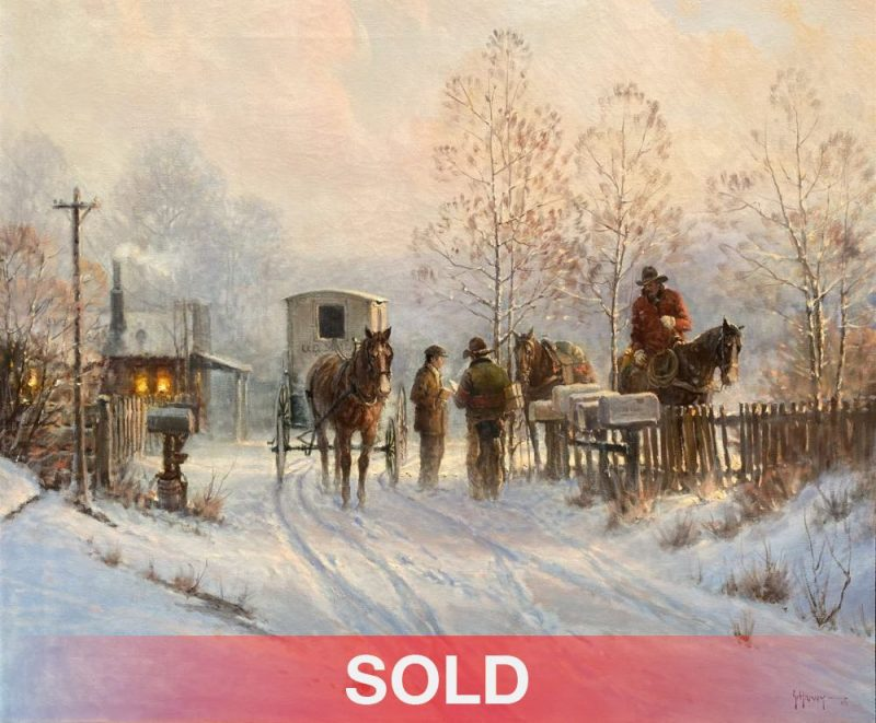 G. Harvey Gerald Harvey Jones The Rural Carrier US Postal Service cowboy horse western snow oil painting sold