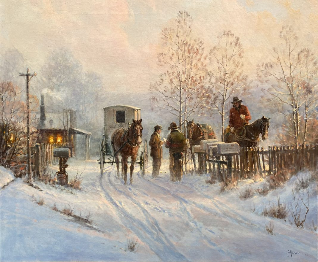 G. Harvey Gerald Harvey Jones The Rural Carrier US Postal Service cowboy horse western snow oil painting