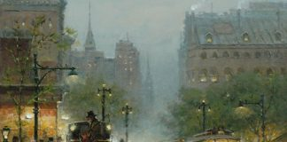 g. harvey turn of the century city scene carriages trolley car horses oil painting