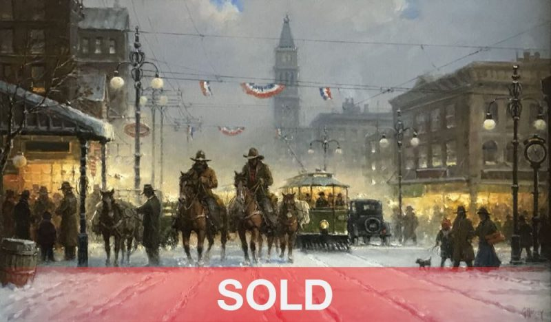G. Harvey Snowy Tracks Denver turn of the century city cowboys horses western oil painting