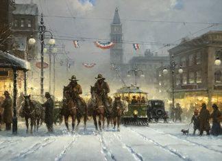 "G. Harvey ""Snowy Tracks"" Denver turn of century city scene cowboys horses street cars trolleys snow oil painting"