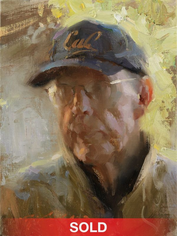 hsin yao tseng cal portrait man California Bears baseball cap hat old man portrait oil painting