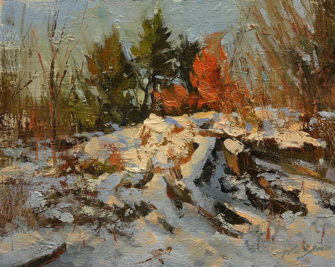 Hsin Yao Tseng Central Park Winter snow landscape New York oil painting