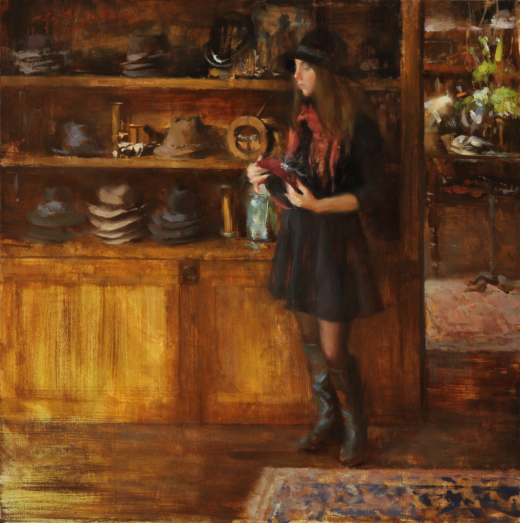 hsin yao tseng cloche or fascinators figurative girl antique store figure oil painting