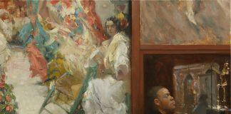 hsin yao tseng guarding sorolla figurative girl antique store figure oil painting