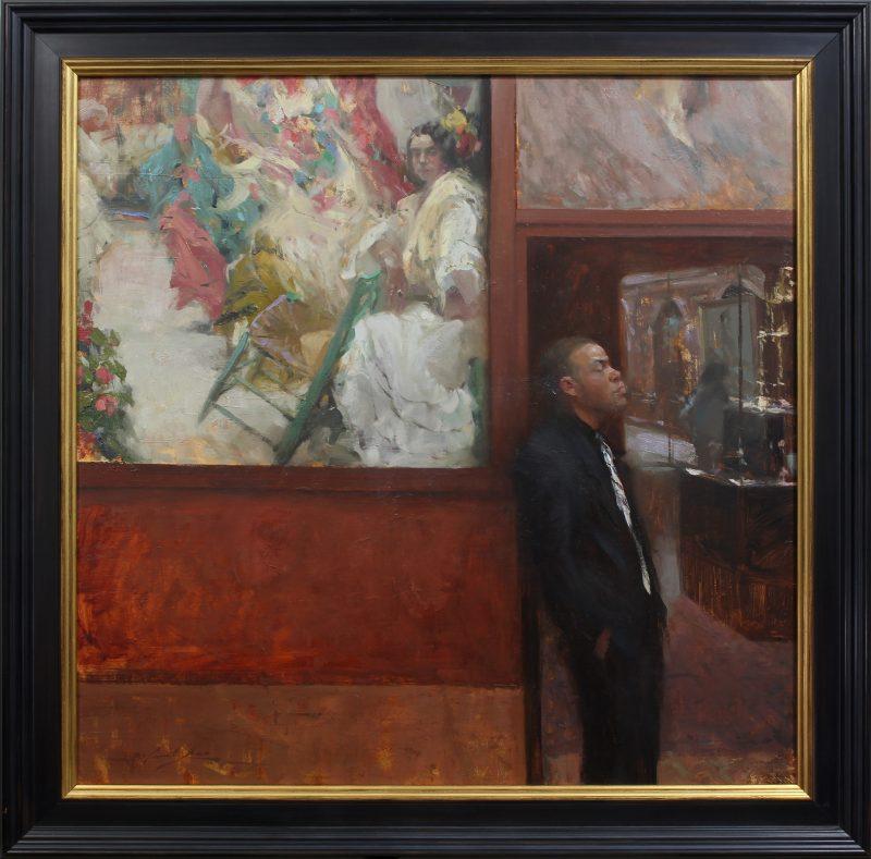 ahsin-yao tseng guarding corolla museum guard figure figurative oil painting