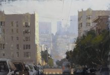 Hsin Yao Tseng Heading To Downtown city cityscape San Francisco California oil painting