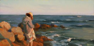Hsin Yao Tseng Santa Cruz Sunset seascape landscape California beach figure woman ocean oil painting
