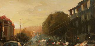 hsin yao tseng sunset on sutter street san francisco city scene oil painting