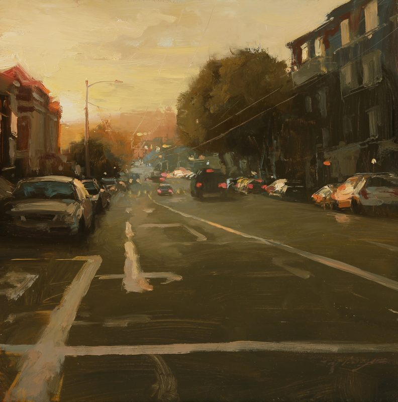 hsin yao tseng sunset on sutter street san francisco city scene oil painting