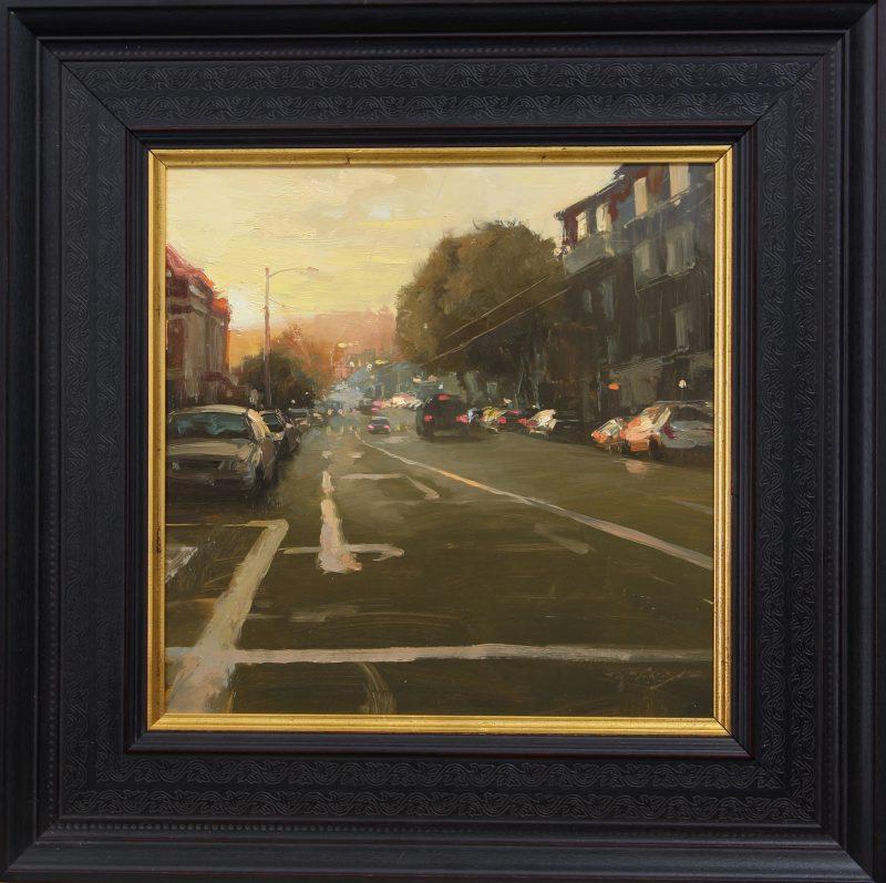 Hsin-Yao Tseng sunset on sutter street san francisco cityscape oil painting