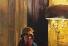 Hsin Yao Tseng Waiting Room girl woman lamp light figure figurative dim lit room oil painting
