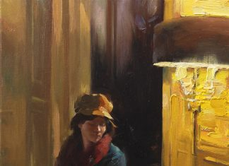 Hsin Yao Tseng Waiting Room girl woman lamp light figure figurative dim lit room oil painting