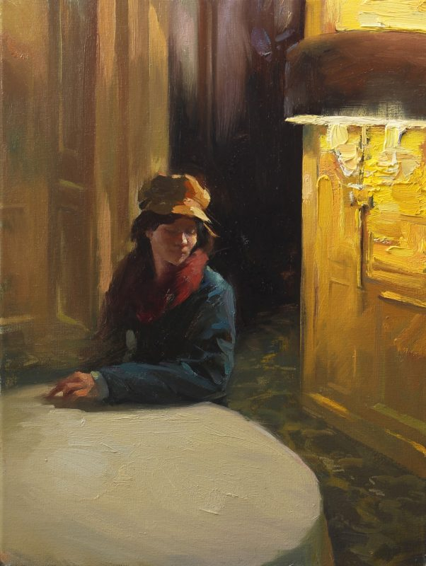Hsin Yao Tseng Waiting Room portrait woman girl soft light lamp impressionistic impressionism oil painting