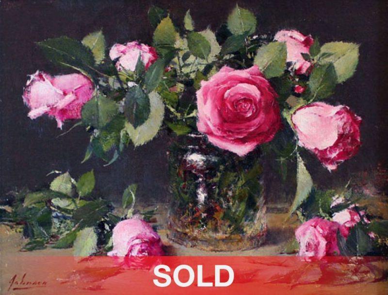 Robert Johnson Pink Roses still life oil painting sold