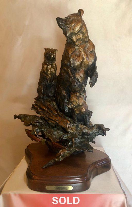 Ken Rowe Current Events bear cubs wildlife bronze sculpture sold