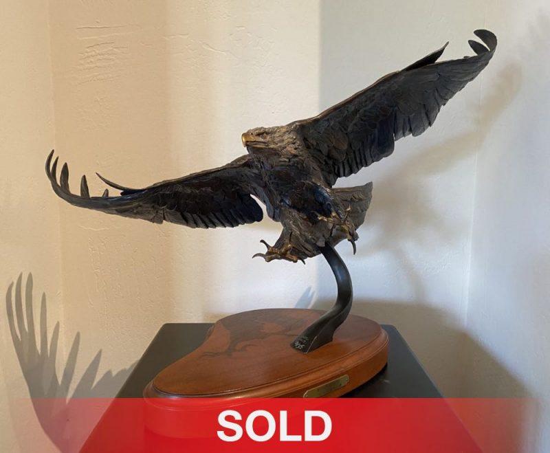 Ken Rowe Wind Storm eagle in flight wildlife bird bronze sculpture sold