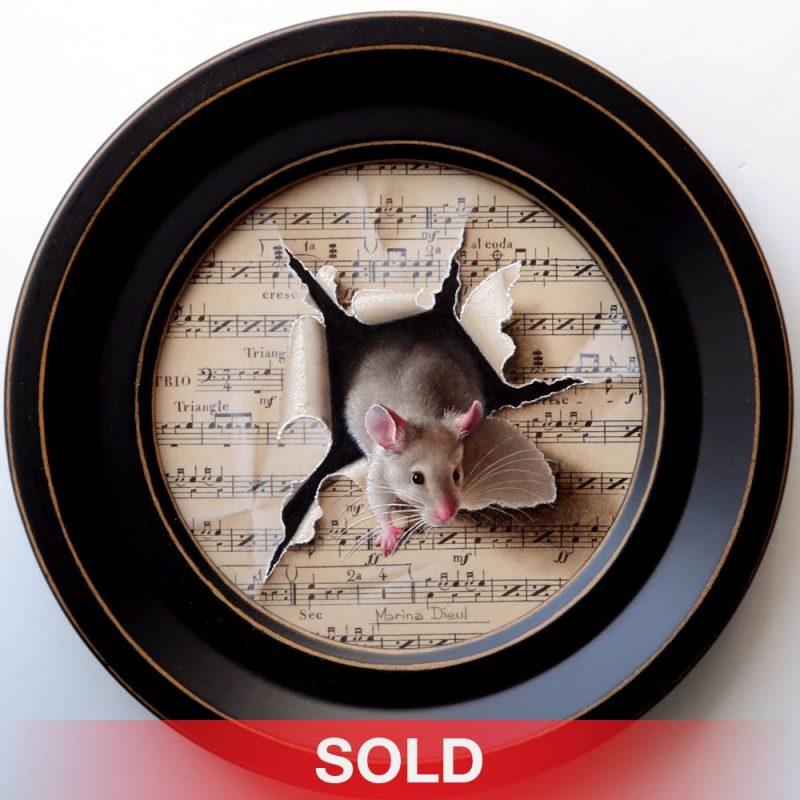 Marina Dieul Maestro 3 three mouse mice tromp l'oeil realist realistic oil painting wildlife sold