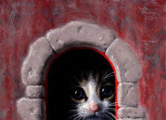 Marina Dieul Mamzelle-Leonie cat doorway oil painting