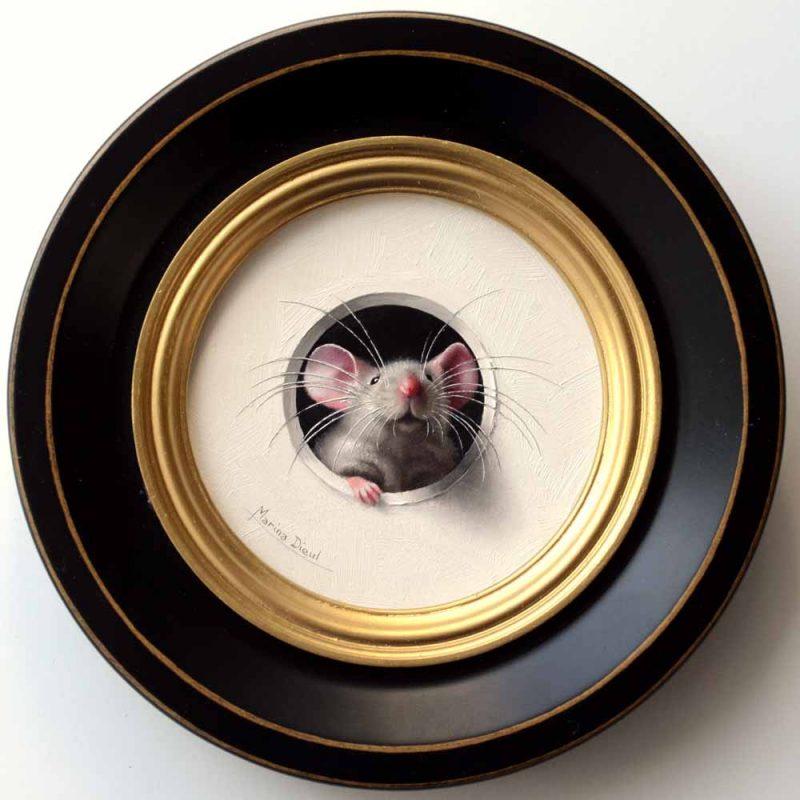 Marina Dieul Petite Souris 480 mouse mice wildlife oil painting