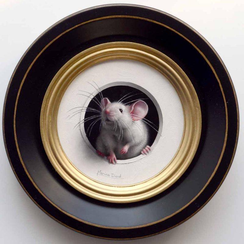 Marina Dieul Petite Souris 481 mouse mice wildlife oil painting