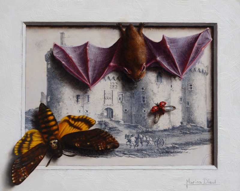marina dieul dentinelles sentinels bat bugs insect oil painting