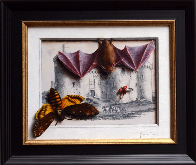 marina dieul sentinels still life bat insect bug oil painting 19th century lithograph oil painting