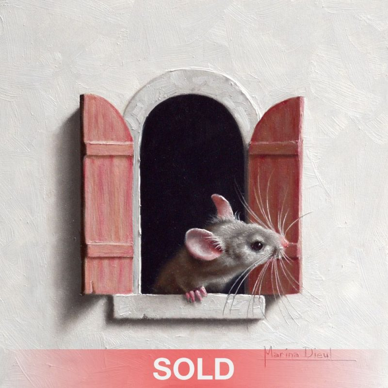 Marina Dieul Souris a la fenetre 12 mouse mice rat wildlife oil painting